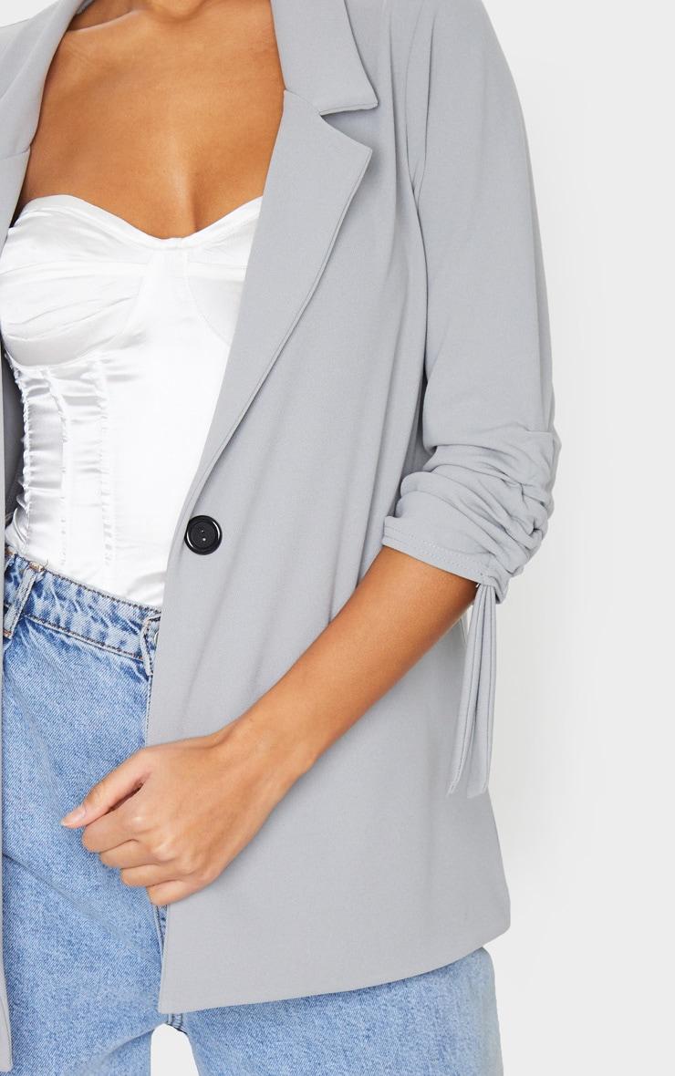 Grey Ruched Sleeve Blazer 4