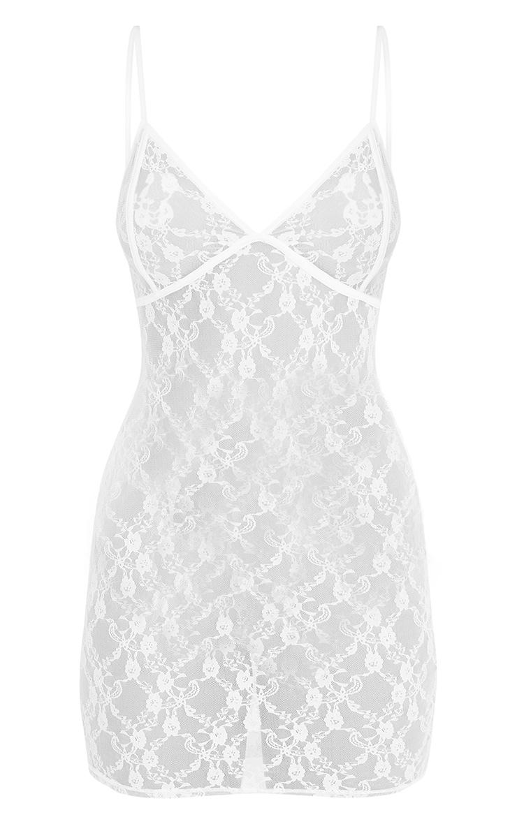 Vivianna White Sheer Lace Bodycon Dress 3