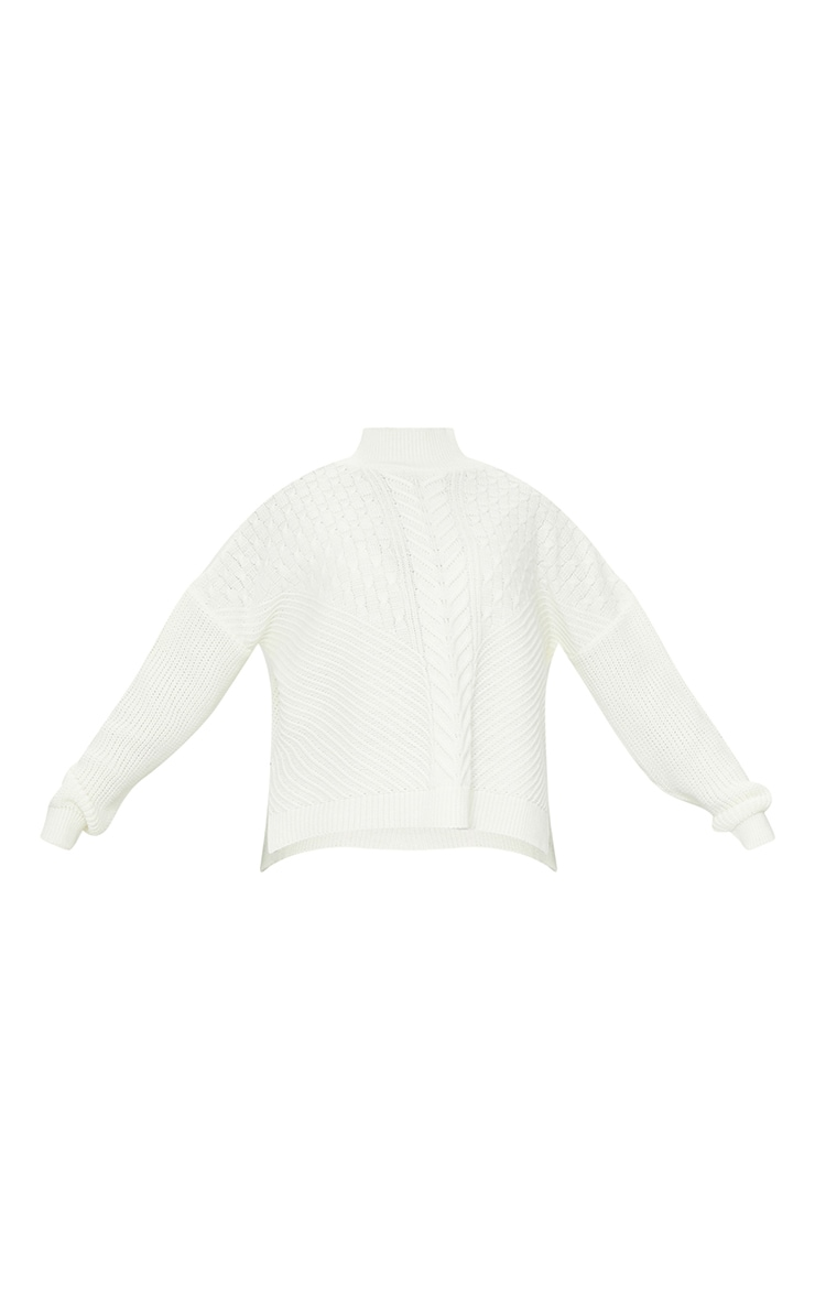 Cream Mixed Cable Knitted Turtle Neck Jumper 5