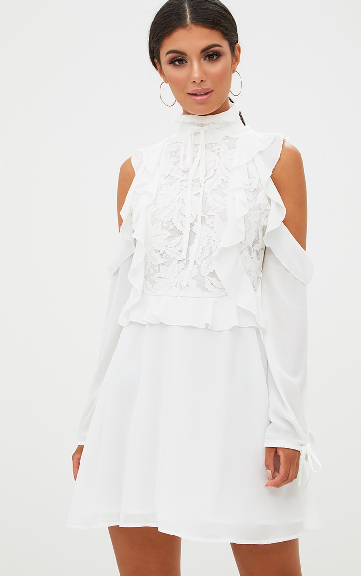 White Cold Shoulder Ruffle Detail Lace Shift Dress 1