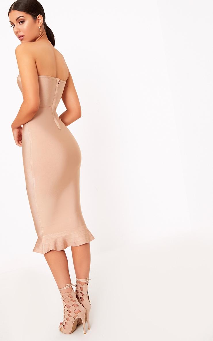 Roxina Camel Bandage Frill Hem Midi Dress 2