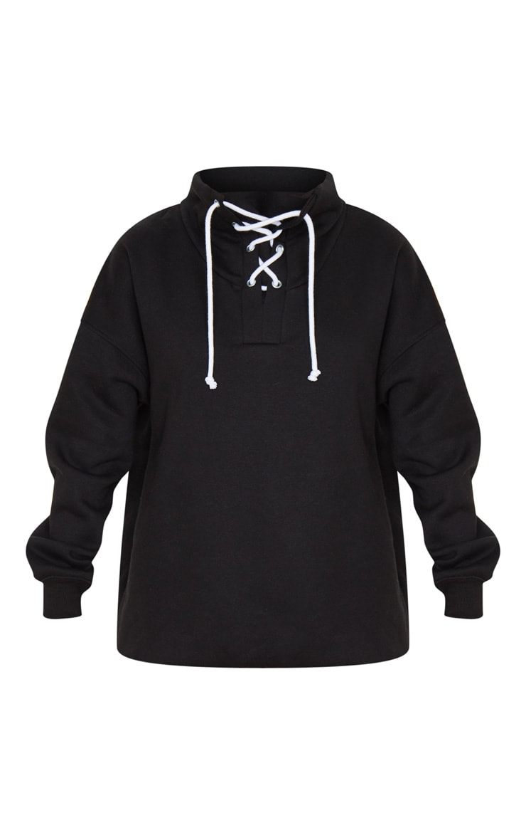 Black Lace Up High Neck Sweater 3