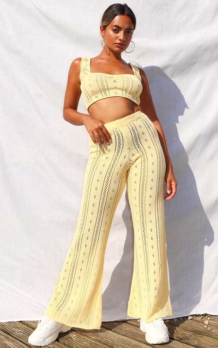 Petite Lemon Pointelle Knit Wide Leg Trousers 1