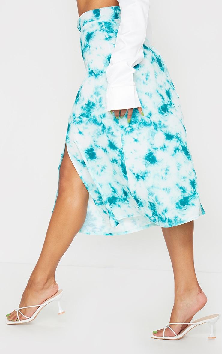 Green Tie Dye Floaty Midi Skirt 3