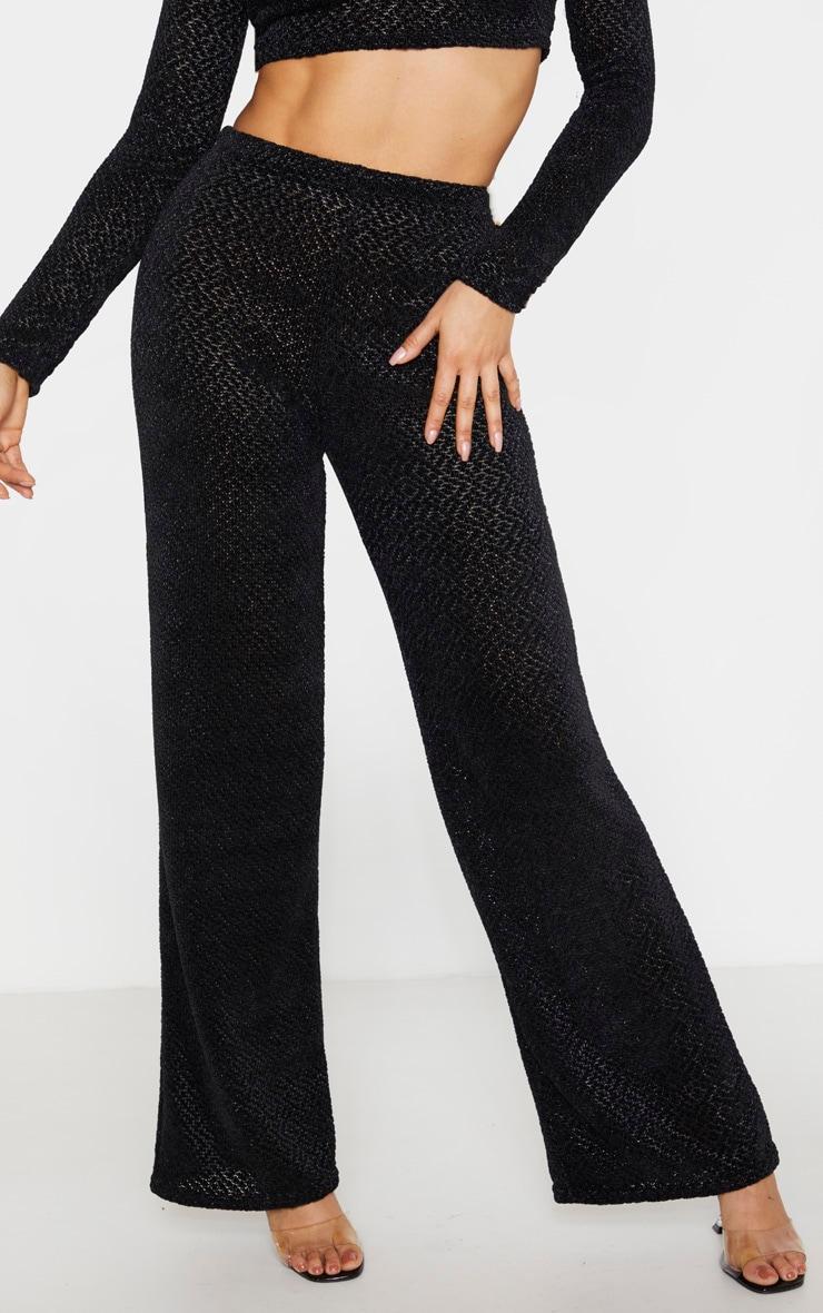Tall - Pantalon flare noir en maille douce  2