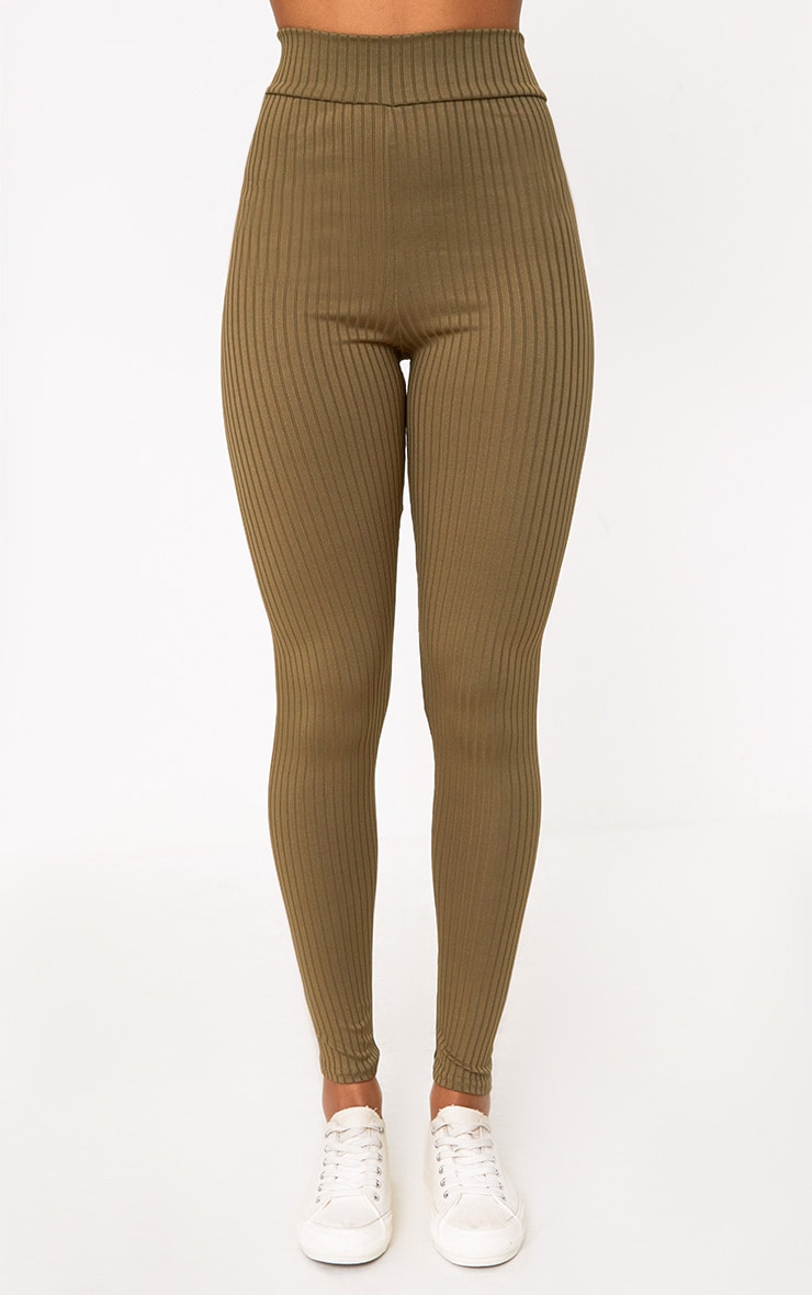 Harlie Khaki Ribbed High Waisted Leggings 2