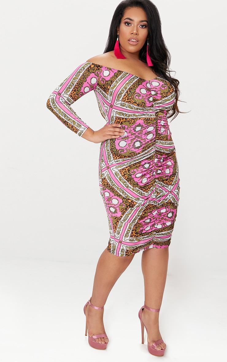 Plus Pink Chain Print Bardot Bodycon Dress 4