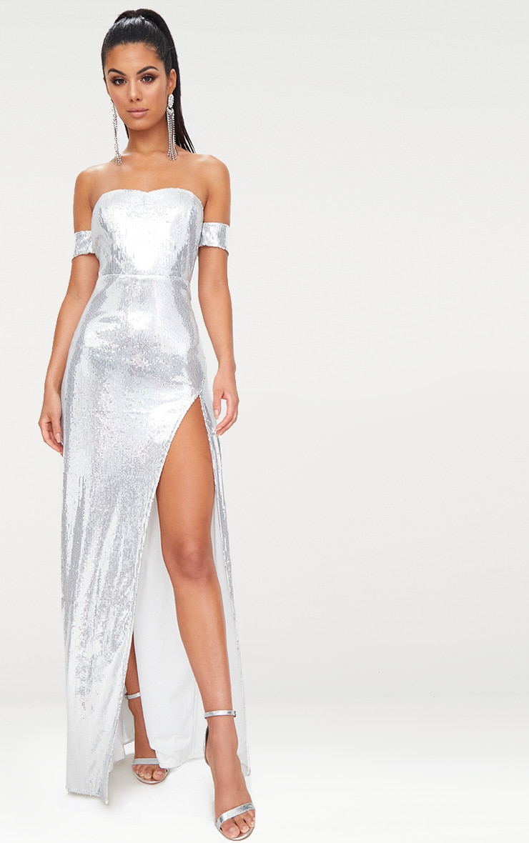 507da3e9e76e Silver Sequin Bardot Maxi Dress image 1