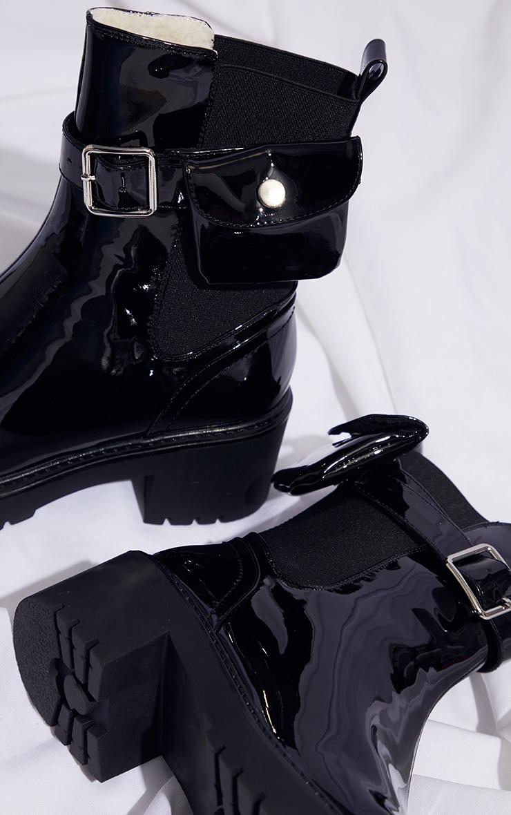 Black Pocket Detail Chelsea Biker Boot 4