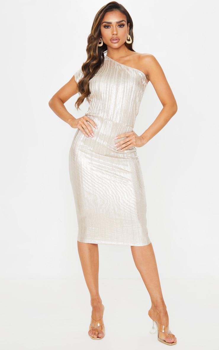 Gold Metallic Plisse One Shoulder Midi Dress 4