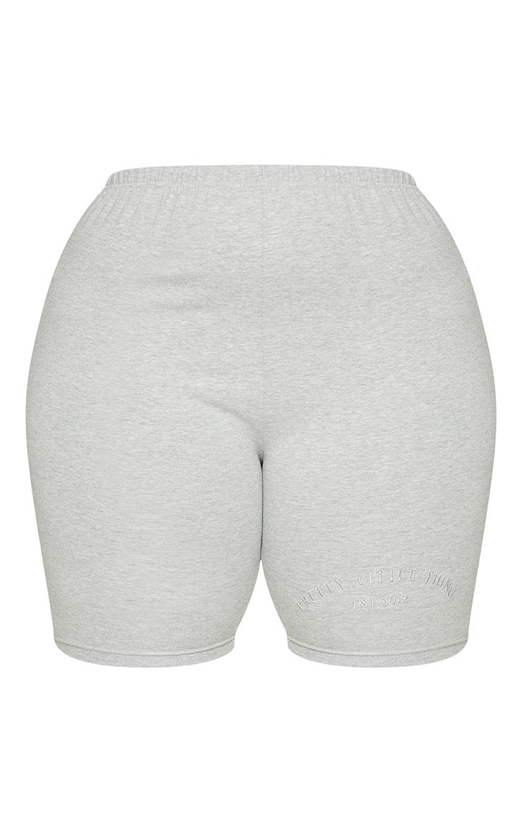 Plus Grey Embroidered Oversized Bike Shorts 6