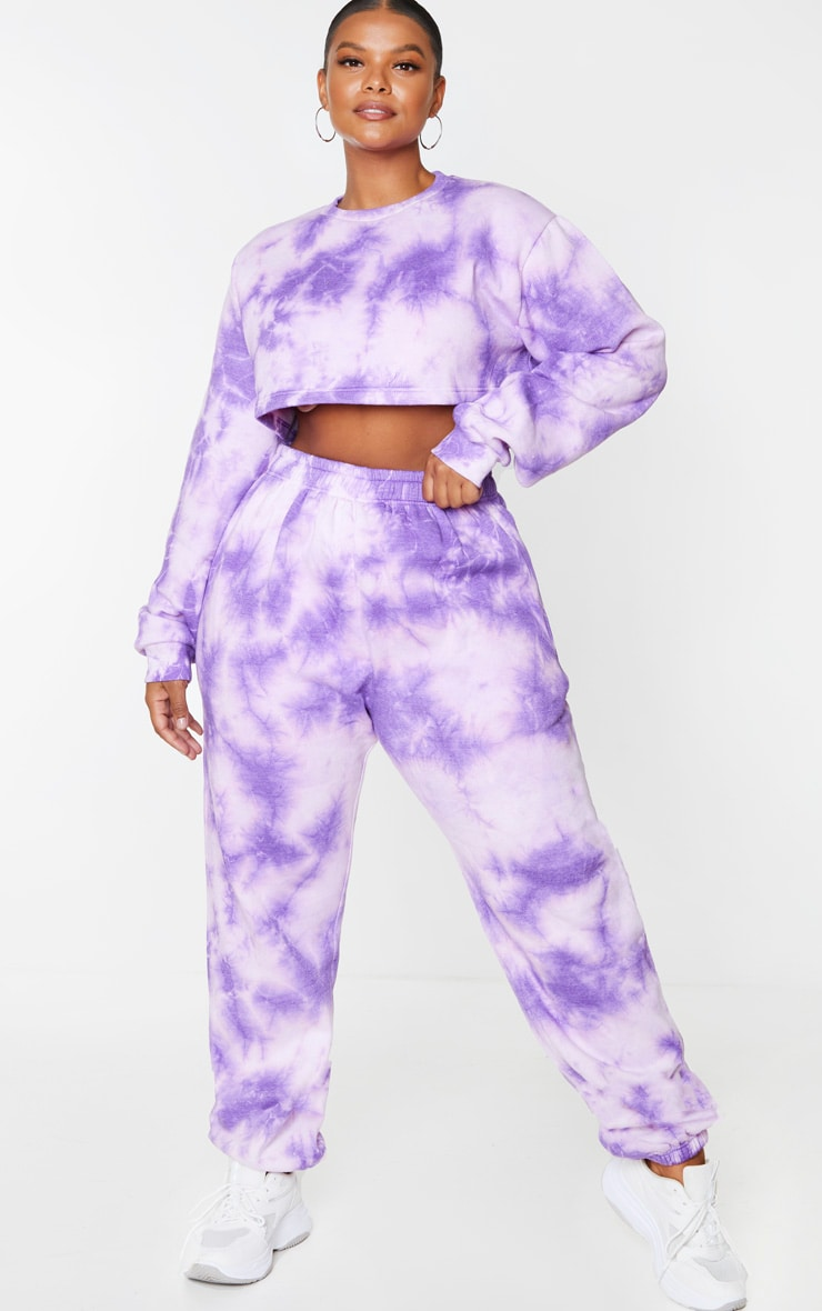 Plus Violet Tie Dye Extreme Cropped Sweater 3