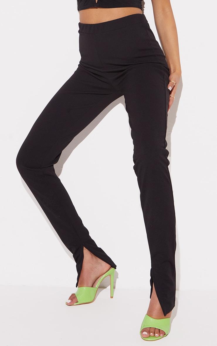 Tall Black Back Seam Split Hem Crepe Pants 4