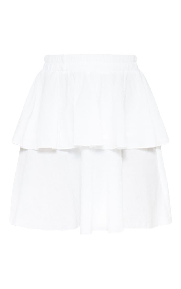 White Woven Tiered Mini Skirt 3