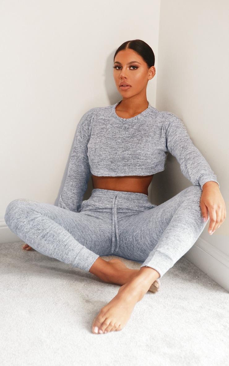 Grey Crop Brushed Knitted Lounge Set 3