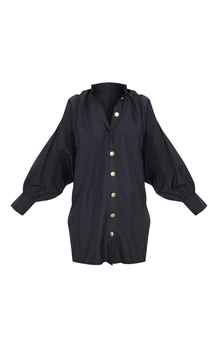 Black Gold Button Detail Shirt Dress 5