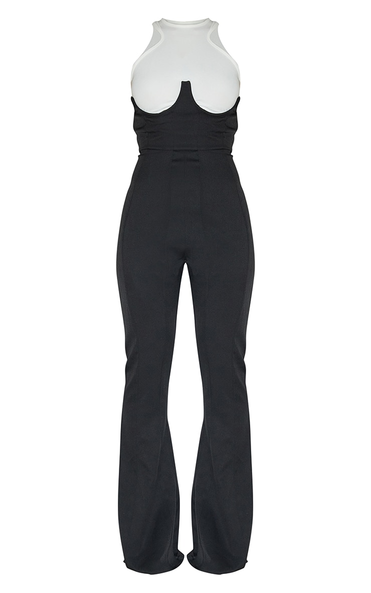 Black Woven Boned Under Bust Corset Flared Trousers 5