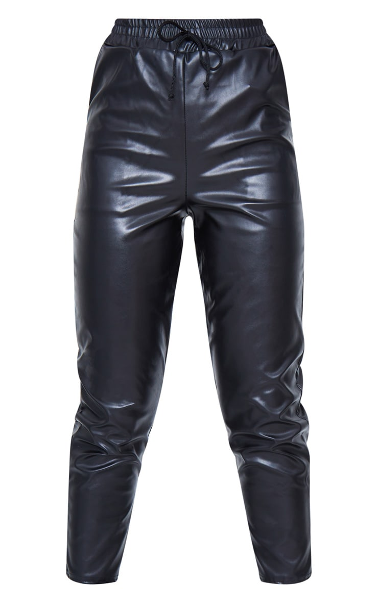 Black Faux Leather Crop Skinny Pants 6