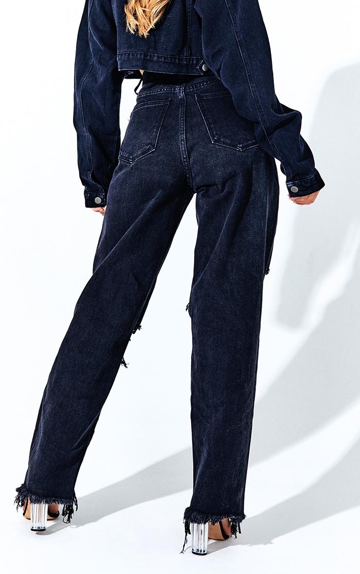 PRETTYLITTLETHING Washed Black Extreme Distressed Hem Boyfriend Jeans 3