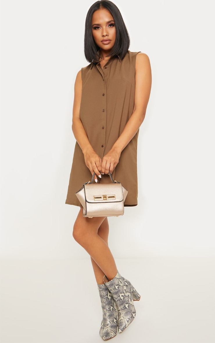 Khaki Sleeveless Shirt Shift Dress