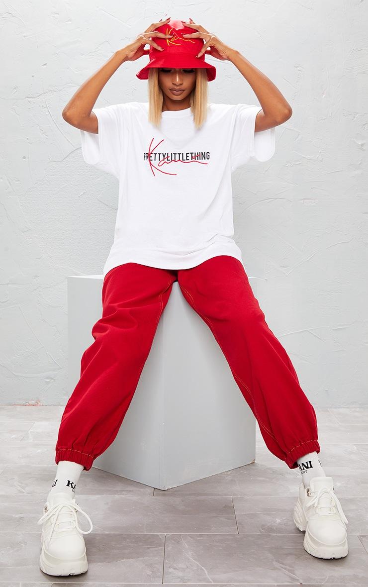 KARL KANI White Embroidered T Shirt  7