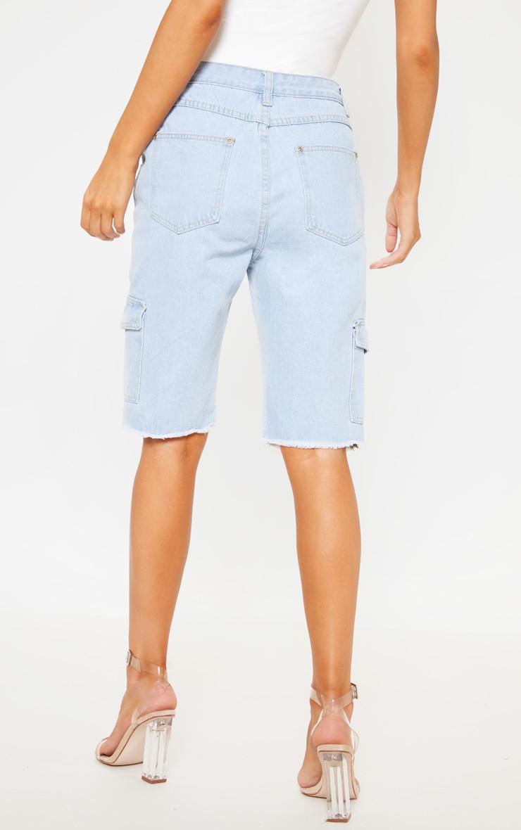 Light Wash Denim  Cargo Pocket Shorts  4