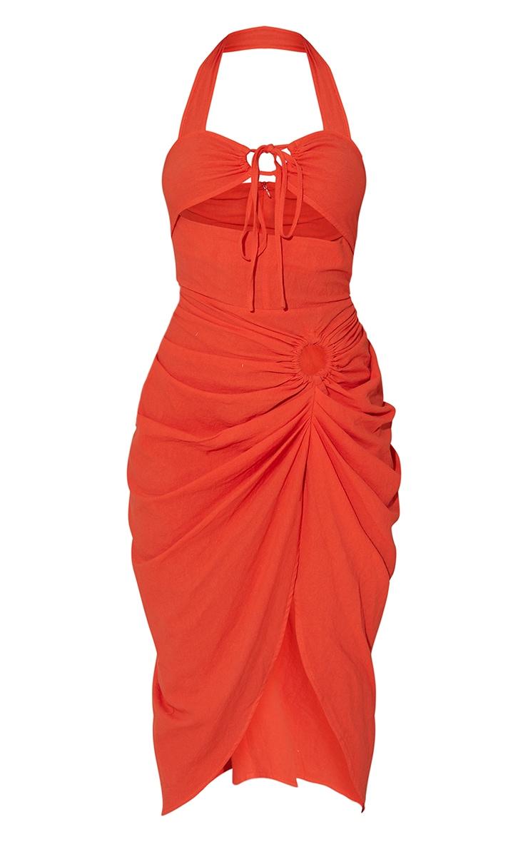 Red Textured Halterneck Ring Detail Gathered Skirt Midi Dress 5