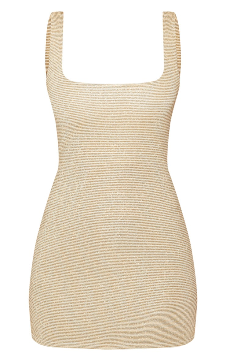 Gold Metallic Rib Bodycon Dress 3