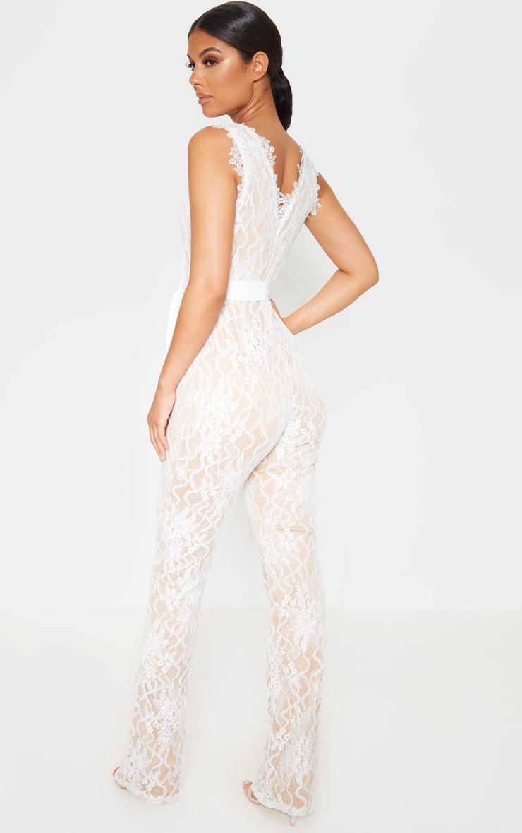 White Lace Contrast Plunge Jumpsuit 2