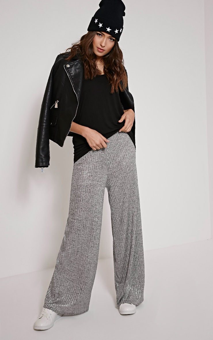 Nora Silver Metallic Rib Flared Trousers 1