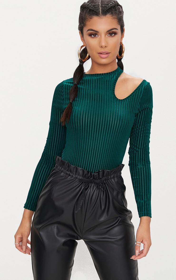 Emerald Green Velvet Cut Out Shoulder Thong Bodysuit  1