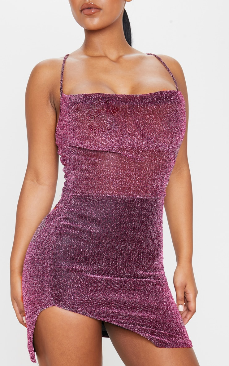 Purple Textured Glitter Strappy Cross Back Bodycon Dress 5