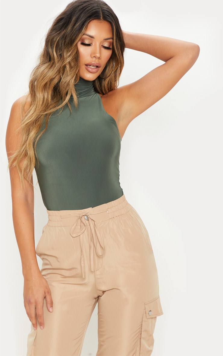 Khaki Double Layer Slinky Roll Neck Bodysuit