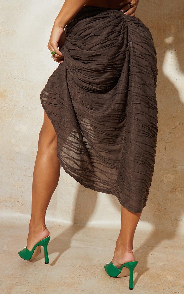 Brown Textured Knot Detail Split Side Midi Skirt 3
