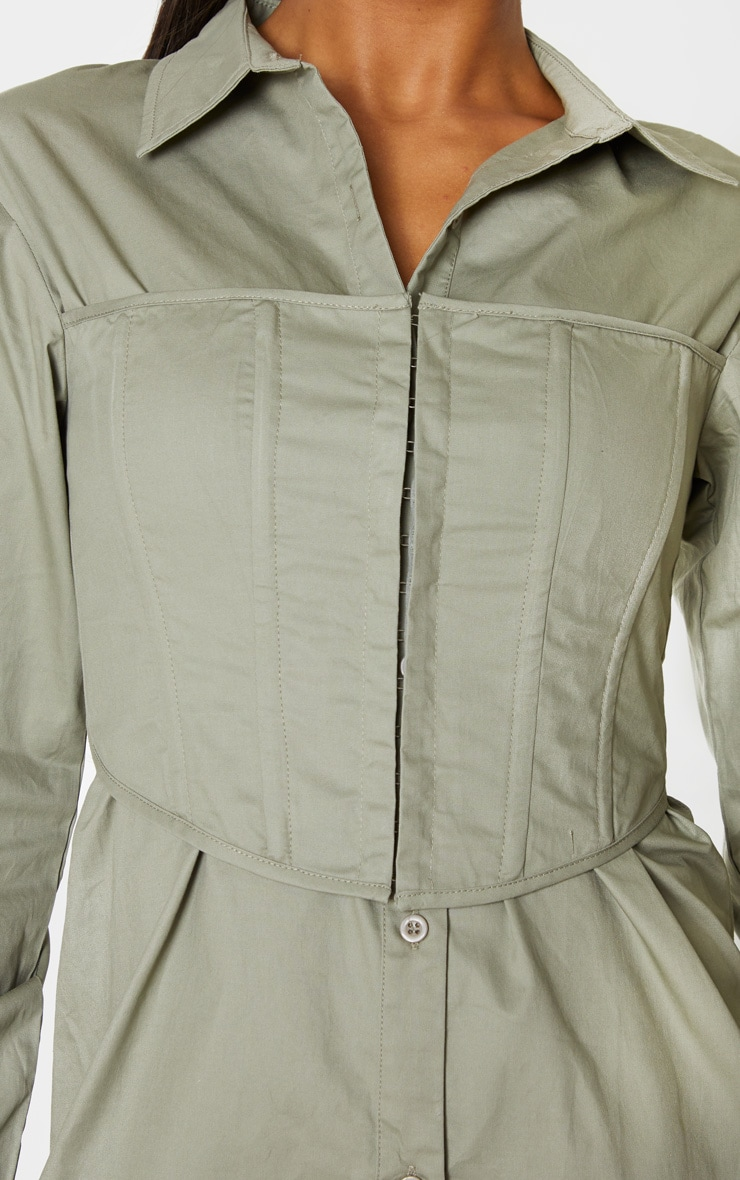 Sage Green Hook & Eye Corset Bust Shirt Dress 4