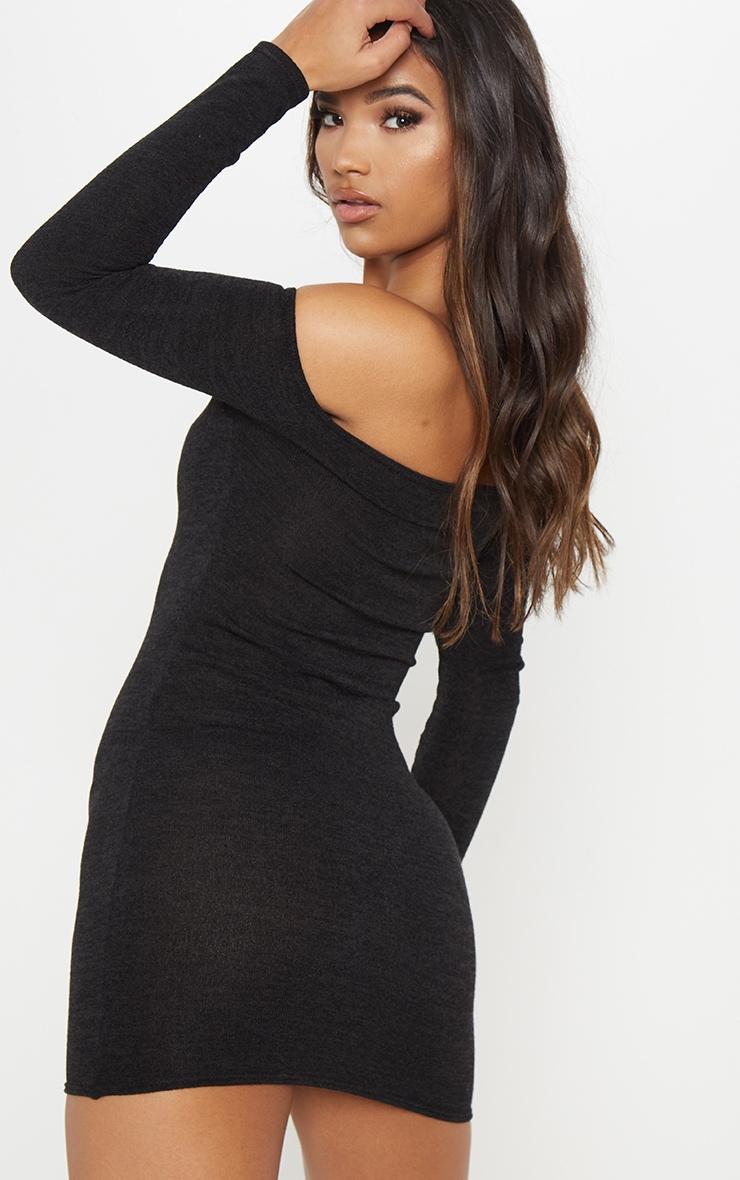Black Knitted Bardot Dress 2