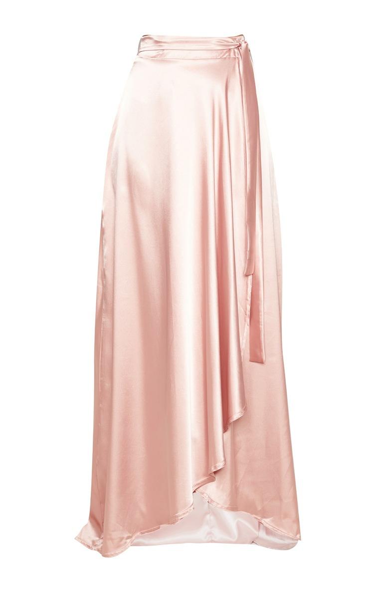 Blush Satin Wrap Maxi Skirt 3