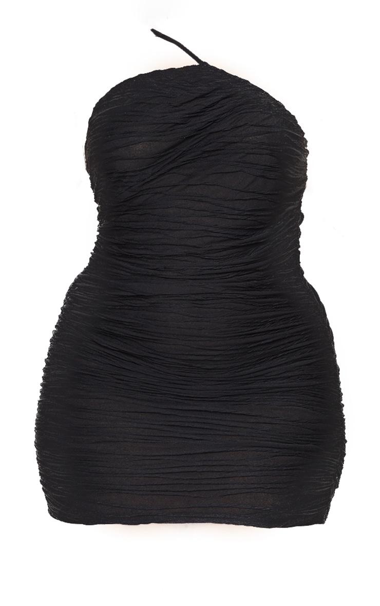Plus Black Textured Asymmetric Ruched Dress 5