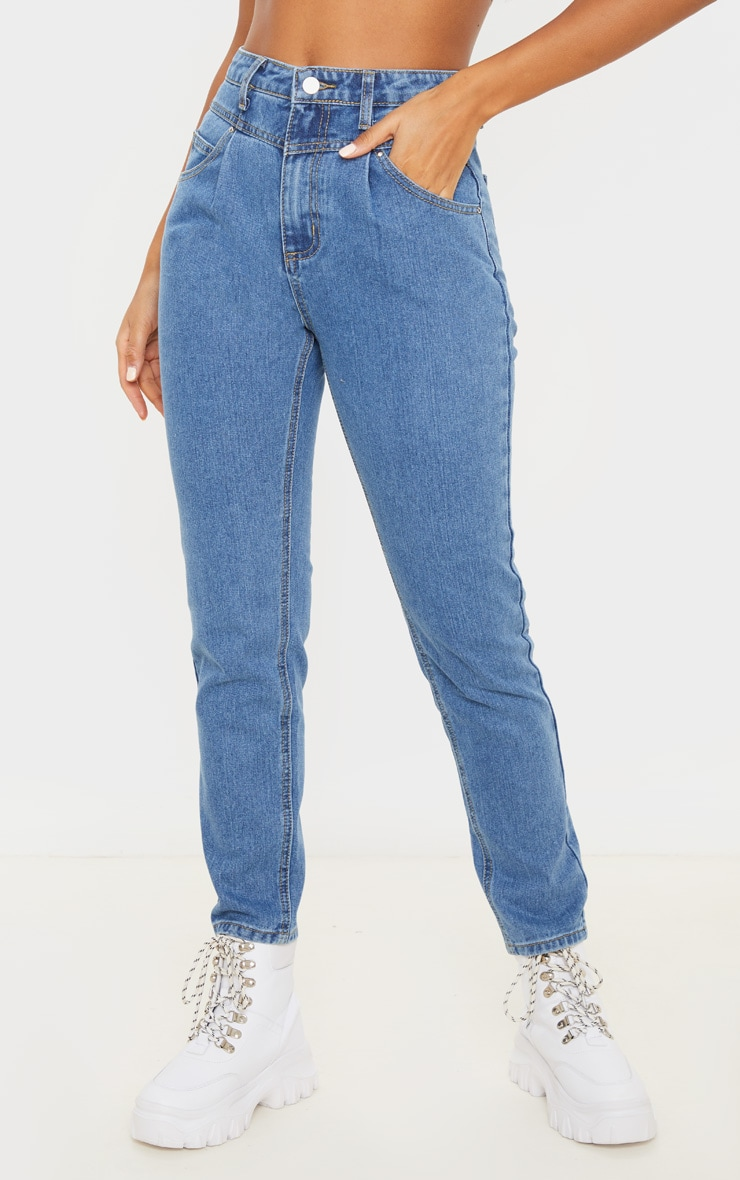 Mid Wash Seam Front Straight Leg Jeans  2