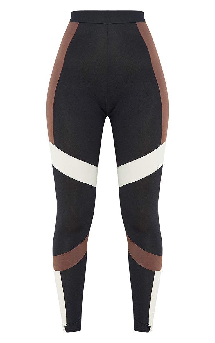 Brown Mono Panel Gym Leggings 5