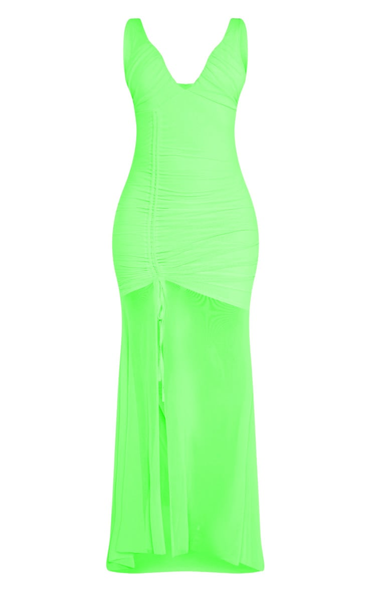 Neon Lime Mesh Ruched Cup Detail Maxi Dress 3