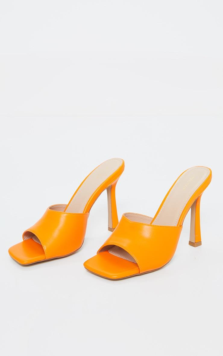 Orange Square Toe Mule High Heels 3