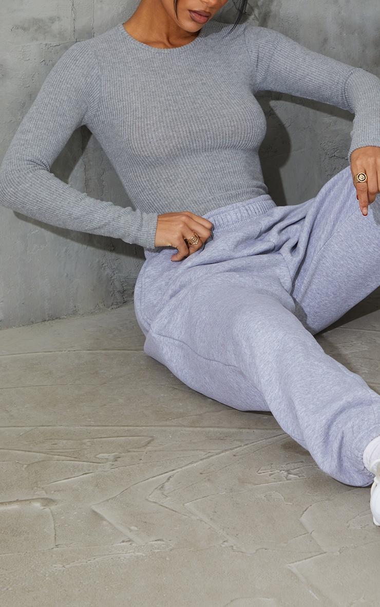Grey Brushed Rib Crew Neck Long Sleeve Bodysuit 4