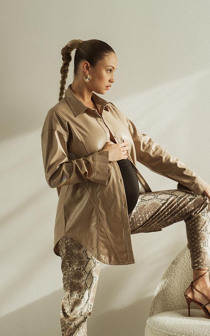Maternity Stone Bump Seam Detail Faux Leather Shirt 1