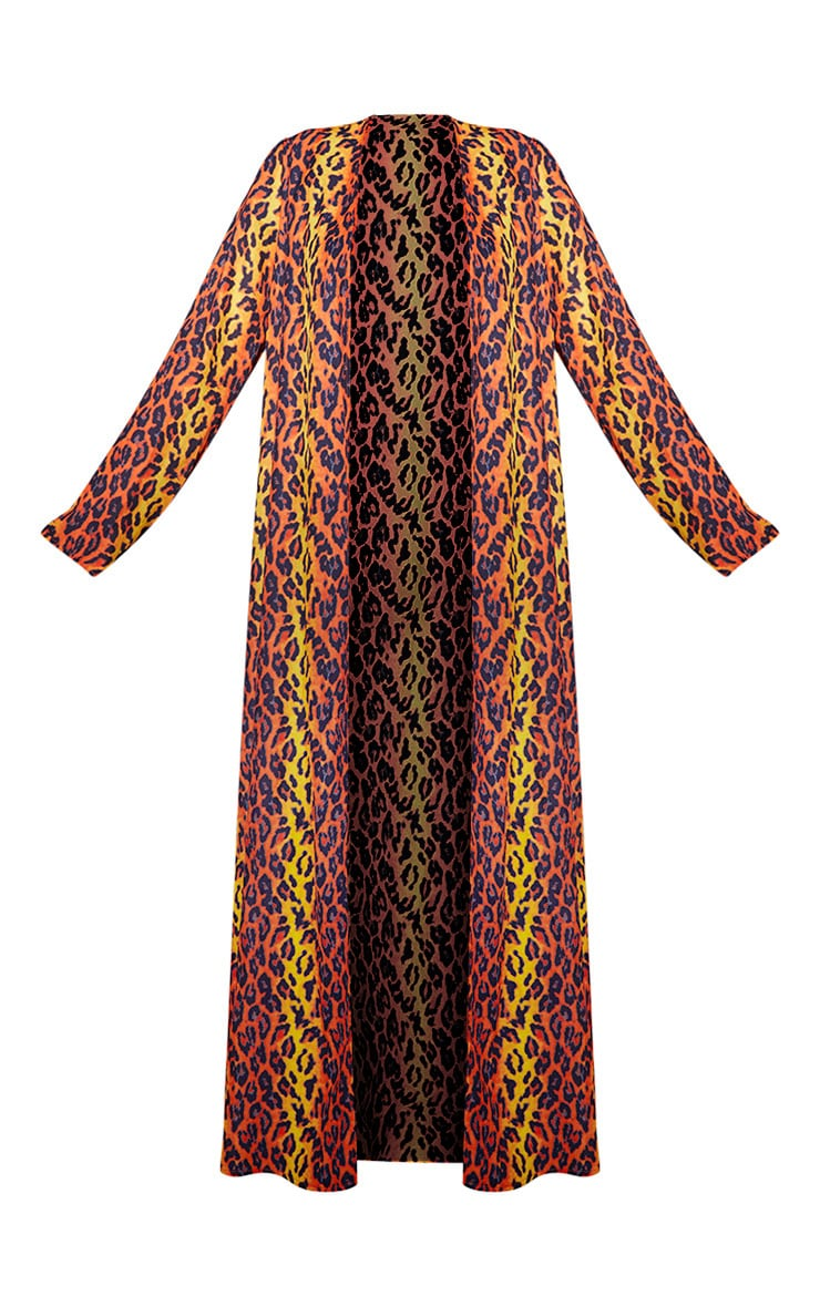 Orange Leopard Long Sleeve Kimono 3