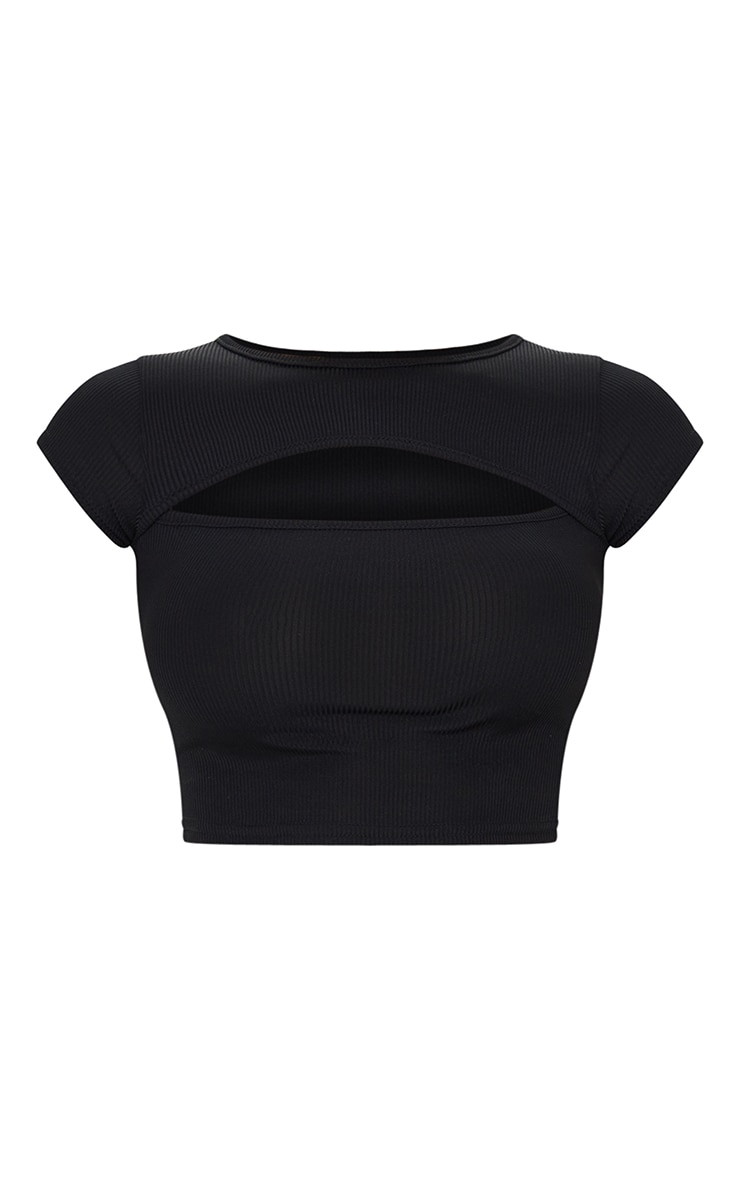 Black Rib Cut Out Short Sleeve Crop Top 5