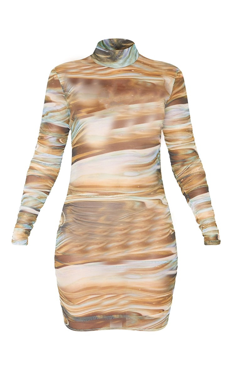 Multi Marble Print Mesh High Neck Long Sleeve Ruched Bodycon Dress 5