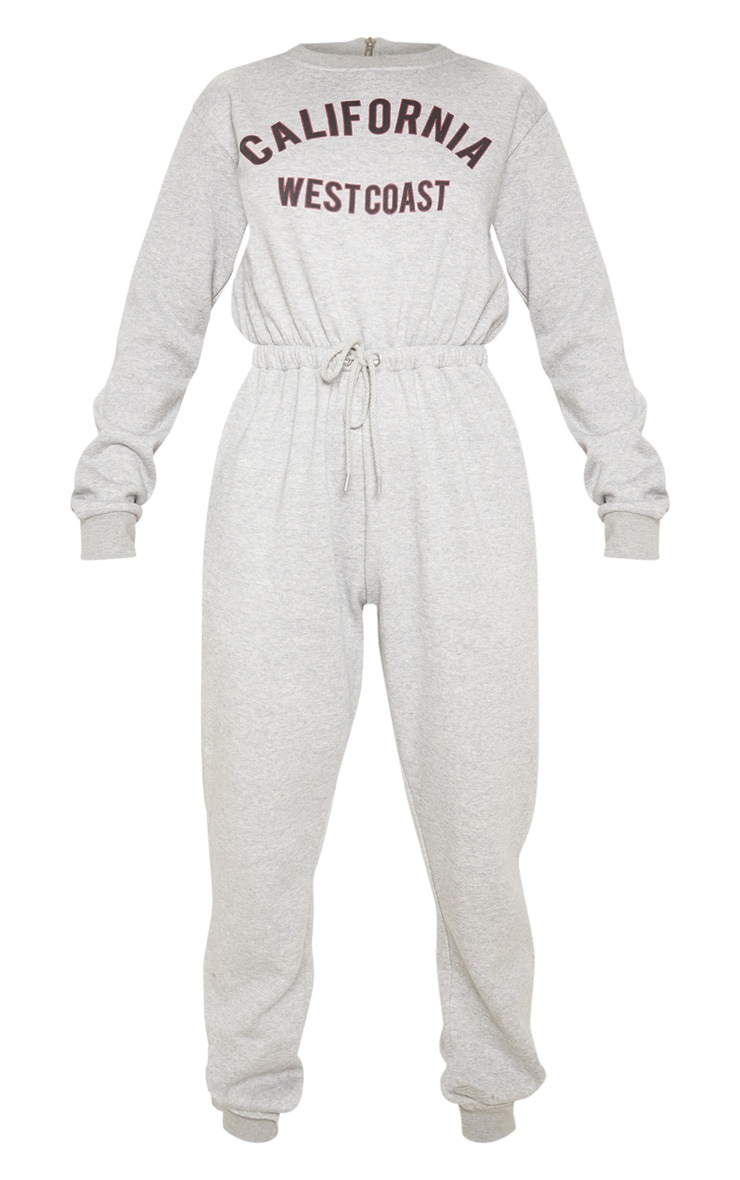 Grey California Long Sleeve Sweat Jumpsuit 3