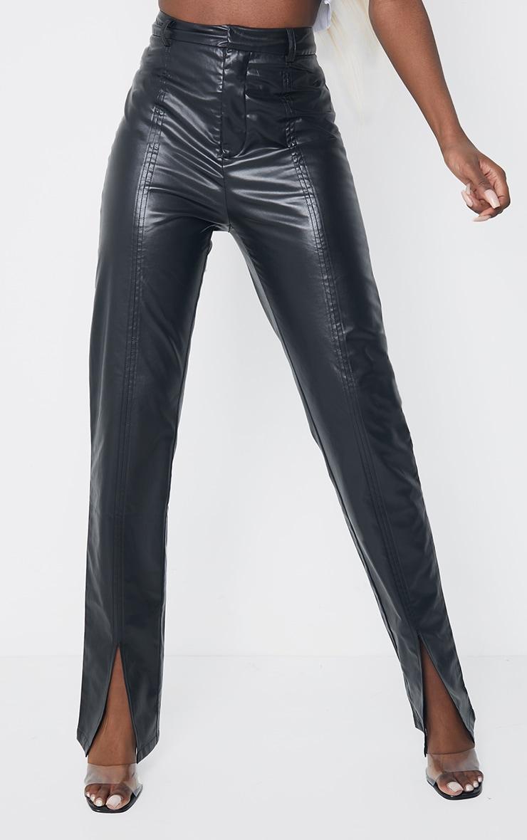 Tall Black Faux Leather Split Hem Seam Detail Skinny Pants 2