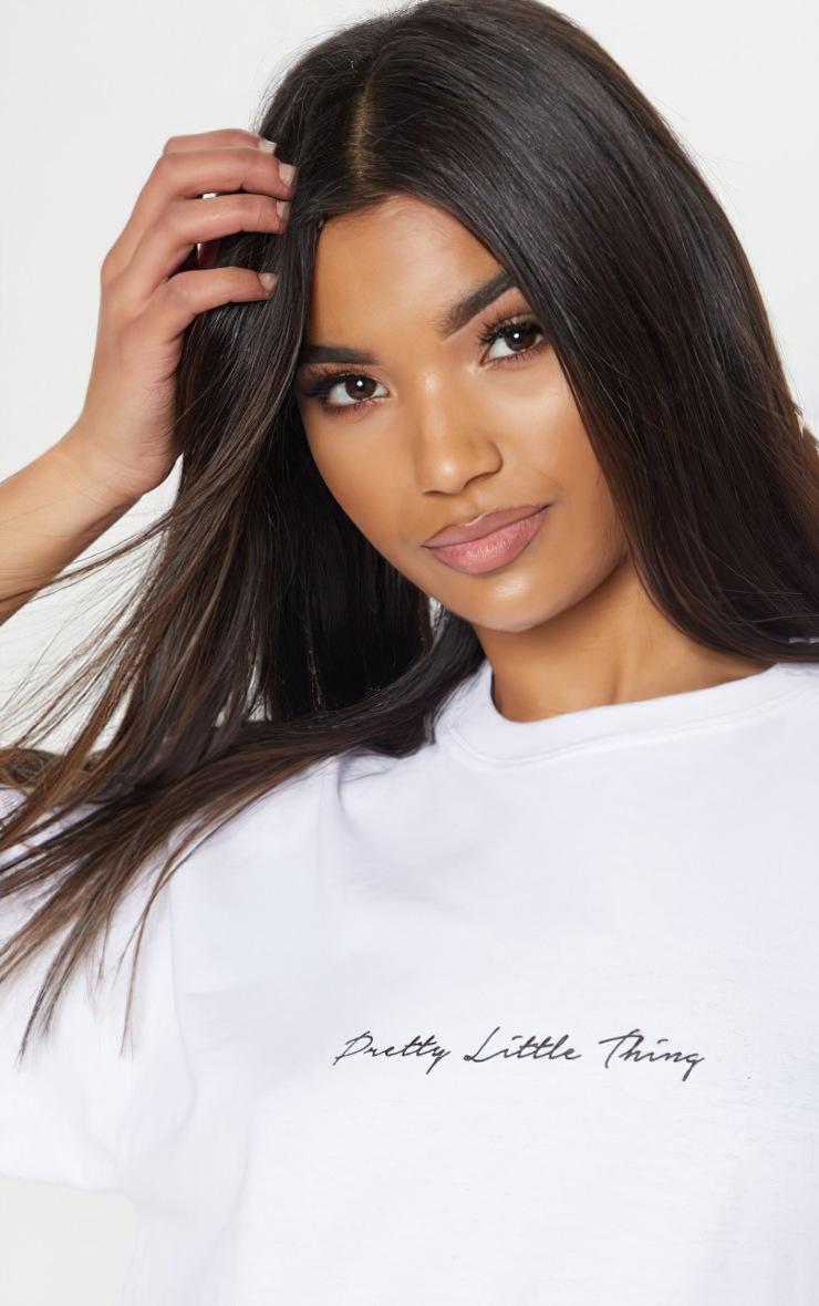 PRETTYLITTLETHING - T-shirt oversize blanc à slogan 4